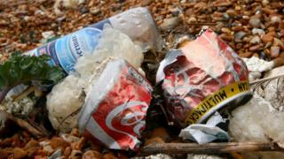 Rubbish on a beach in Dover, Kent