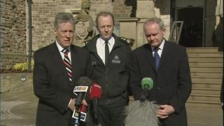 Peter Robinson, Sir Hugh Orde and Martin McGuinness at a press conference on the murder of Constable Stephen Carroll in 2009