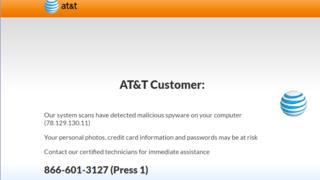 Screengrab of fake pop-up