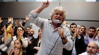 Beppe Grillo giving a speech