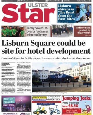 front page Ulster Star Friday 9 March 2018