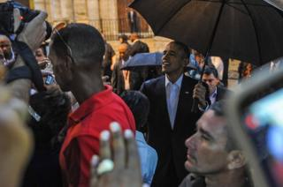 President Barack Obama tours Old Havana with his family at the start of a three-day visit to Cuba, in Havana