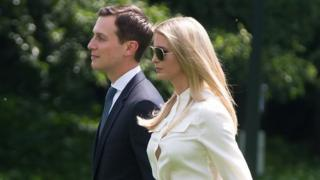 June 1, 2018 Jared Kushner and Ivanka Trump walk to Marine One prior to departing from the South Lawn of the White House in Washington, DC.