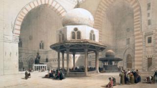 لوحة من مسجد السطان حسن بالقاهرة في القرن التاسع عشر للفنان ديفيد روبرتس
