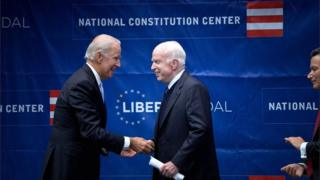 Former US Vice-President Joe Biden awards US Senator John McCain the 2017 Liberty Medal in Philadelphia, USA, in October 2017