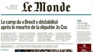 Le Monde front page 21 June 2016