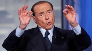 "Former Prime Minister Silvio Berlusconi gestures during the television talk show ""Porta a Porta"" in Rome, Italy June 21, 2017."