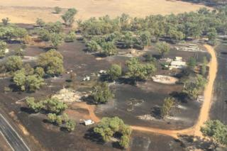 Some of the properties destroyed by fire at Uarbry in New South Wales