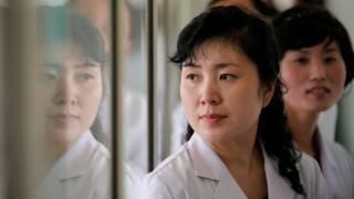 Staff at a maternity hospital in Pyongyang