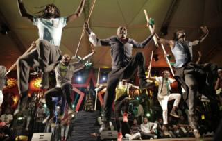 In Zimbabwe, a group of performers perform for a captive audience during the annual Harare International Festival of the Arts ( Hifa) on 1 May 2018