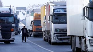 Lorries at a Russian border crossing - file pic