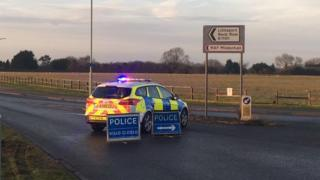 Police outside RAF Mildenhall