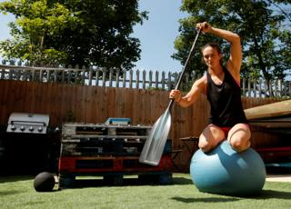 British canoeist Mallory Franklin trains in her garden in Cheshunt, UK.