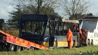 Bus fire in Breckland
