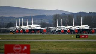 British Airways planes parked up at Glasgow Airport