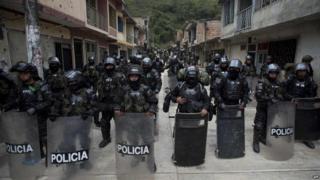 Colombian police patrol El Mango against Farc rebels. 28 June 2015