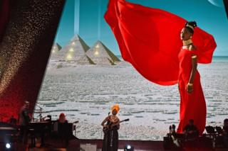 Malian singer Fatoumata Diawara performs onstage during the 61st annual Grammy awards pre-telecast show on 10 February 2019 in Los Angeles, California.