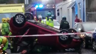 Car overturned on Grays Hill