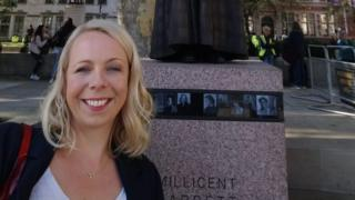 Clare Roberts-Molloy in front of the statue of Millicent Fawcett in London earlier this year
