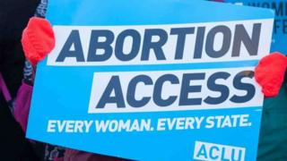 """A protester holds an American Civil Liberties Union sign with the phrase, """"Abortion access. Every woman. Every state."""""""
