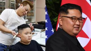 Gia Huy, 9, has a haircut in a North Korean leader Kim Jong-un style, alongside a photo of Kim Jong-un.