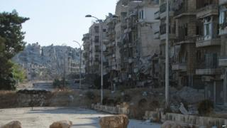 Ruined buildings in Aleppo