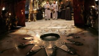 The Grotto at Church of the Nativity in Bethlehem where Christians believe Jesus was born