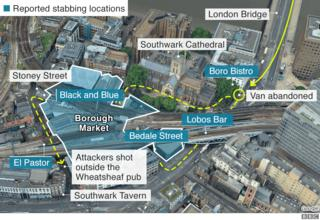 Map showing the reported locations of stabbings