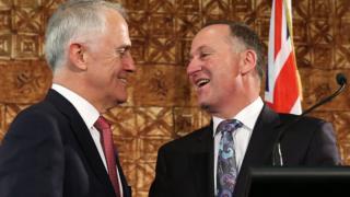 Australian Prime Minister Malcolm Turnbull and his New Zealand counterpart John Key