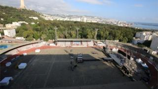 General view of the stadium following a stampede at a rap concert where thousands had gathered to see local rap star Abderraouf Derradji, known as Soolking in Algiers, Algeria, on 23 August 2019.