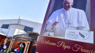 Poster of the Pope at St Mary's Catholic Church in Dubai on January 30, 2019
