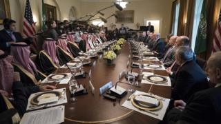 President Trump holds a working lunch with Prince Mohammed bin Salman of Saudi Arabia at the White House on 20 March