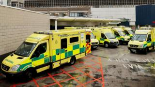 Ambulances outside the Accident and Emergency Department of the Royal Liverpool University Hospital.