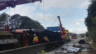 The lorry being recovered