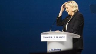 Marine Le Pen ari inyuma ya Emmanuel Macron mu bipimo by'amajwi