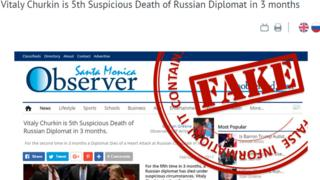 "A headline from the ""Santa Monica Observer"" which is listed as ""fake"" on a Russian Foreign Ministry website"