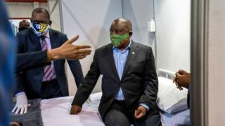 india South African President Cyril Ramaphosa visits the Covid-19 treatment facilities