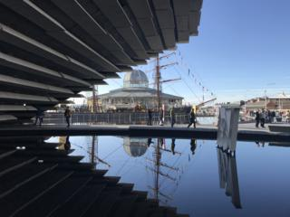 V&A in Dundee with the Discovery ship reflected in the water
