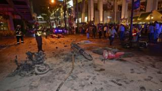 Site of bomb in Bangkok, 17 Aug