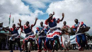 In Kenya, performers entertain audiences at the May Day celebrations in the capital, Nairobi on 1 May 2018