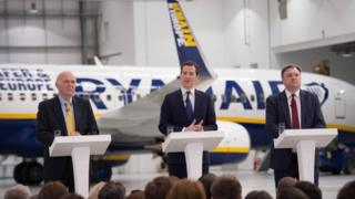 Remain campaigners Vince Cable, George Osborne and Ed Balls making speeches in front of Ryanair plane carrying a pro-EU slogan