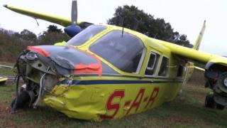 Channel Islands Air Search Islander after crash landing in Jersey