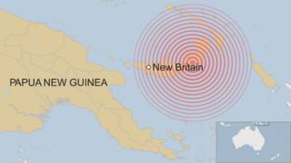 A BBC map showing the location of New Britain, an island of Papua New Guinea
