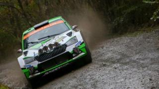 Czech driver Jan Kopecky and co-pilot Pavel Dresler drive their Skoda Fabia R5 Evo as they compete in the Penmachno stage