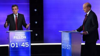 Francois Fillon (L) and Alain Juppe in TV debate - rivals for centre-right Republicans party primary, 24 November 2016