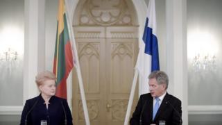 Президент Литвы Даля Грибаускайте на совместной пресс-конференции с финским коллегой Саули Ниинисте