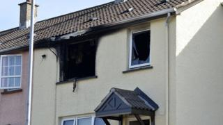 The scene on Saturday morning following the house fire in Armagh