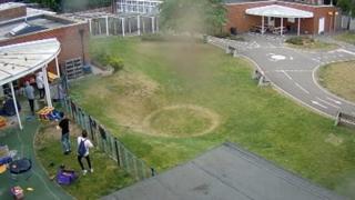 Vandals ransacking a school playground in Norwich