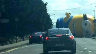 Inflatable minion on the road