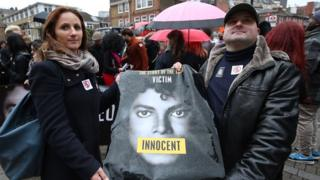 Fans protest outside Channel 4 ahead of the screening of Leaving Neverland